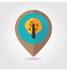Fruit tree flat mapping pin icon vector