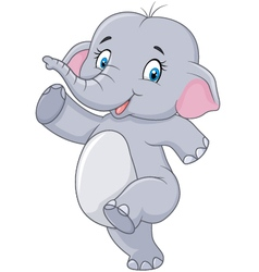 Cartoon cute happy cartoon elephant isolated vector