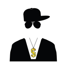 Rapper with dollar chain vector