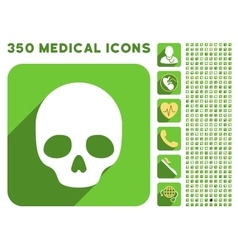 Skull icon and medical longshadow icon set vector