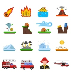 Natural disaster flat icons collection vector