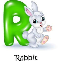 Cartoon of R letter for Rabbit vector image