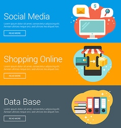 Social media shopping online data base flat design vector