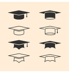 Graduation cap logos set graduation hat logo set vector
