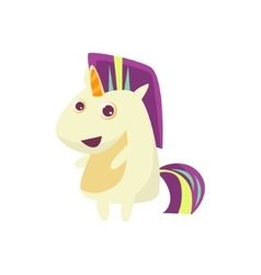 White unicorn with multicolor crest vector