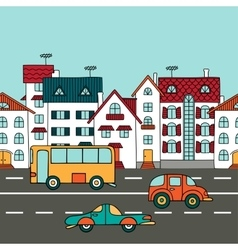 Cityscape with road transport vector