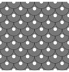 Seamless circles pattern black and white repeating vector