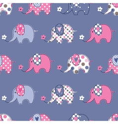 Seamless pattern with cute elephant vector
