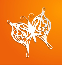 Abstract orange background with a paper butterfly vector image vector image