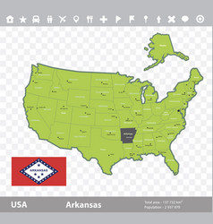 Arkansas flag and map vector