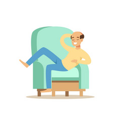 Bald smiling man sitting on a ligh blue sofa and vector