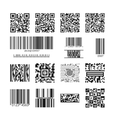 Barcodes and QR codes set vector image