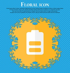 Battery half level Low electricity Floral flat vector image vector image