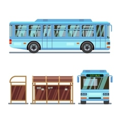 Bus stop and city bus vector image vector image