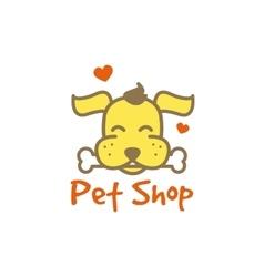 Cartoon yellow dog with bone logotype pet vector