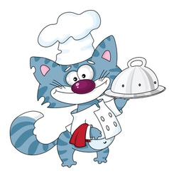 cat the cook with a tray vector image vector image