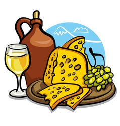 Cheese and wine vector