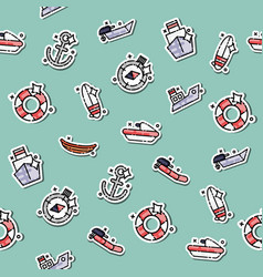 Colored sea transport concept icons pattern vector