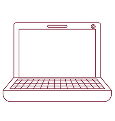 Dark red line contour of laptop computer vector
