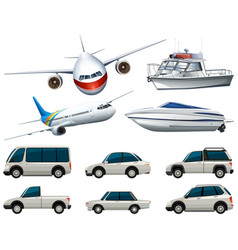 different types of transportation in white color vector image vector image