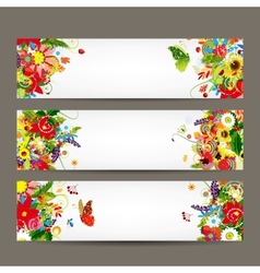 Floral style banners for your design vector image vector image