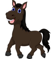 Funny horse cartoon walking vector
