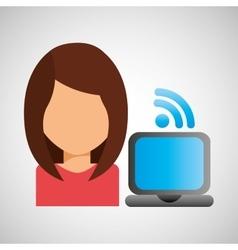 girl character wifi laptop vector image