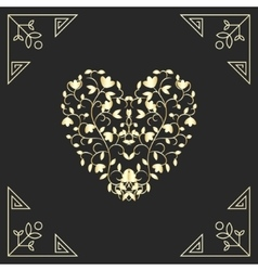 Golden heart in swirls elements for vard design vector