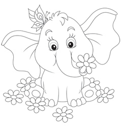 Little elephant with flowers vector image vector image