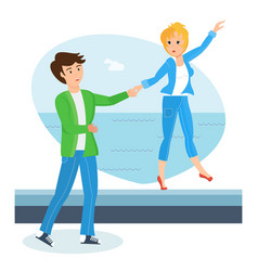 Loving couple on warm day walks along waterfront vector