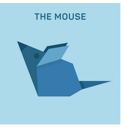 mouse origami animal flat low poly vector image