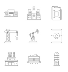 Petroleum icons set outline style vector