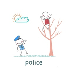 Police near the tree on which sits a criminal vector image vector image