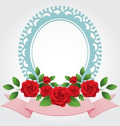 Red roses round shape frame and border vector