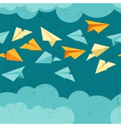 Seamless pattern of paper planes on the sky with vector image