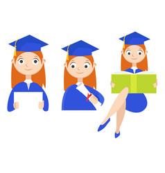 Set a graduate with a diploma vector