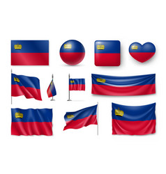set liechtenstein flags banners banners symbols vector image vector image
