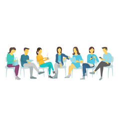 seven people set work sitting on chairs men and vector image vector image
