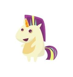 White unicorn with multicolor crest vector