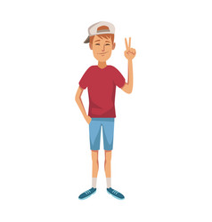Young guy standing waving hand cheerful cartoon vector