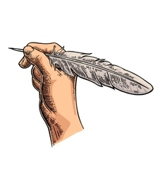 Female hand holding a goose feather black vector image
