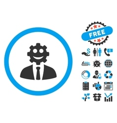 Worker smile flat icon with bonus vector