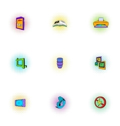 Photo icons set pop-art style vector