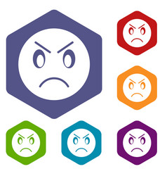 Annoyed emoticon icons set vector