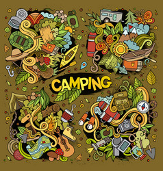 Camping nature doodles designs vector
