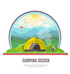 flat design of mountains landscape and camping vector image