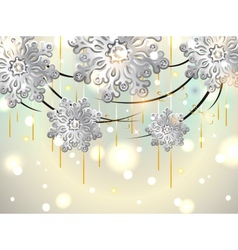 Christmas Horizontal Card with silver snowflakes vector image