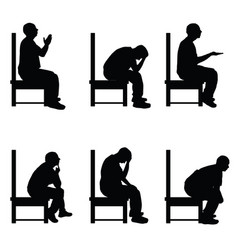 Man silhouette sitting on chair in various poses vector