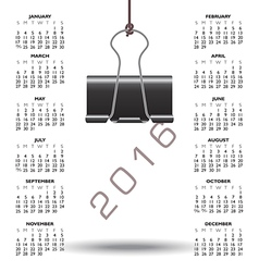 2016 binder clip calendar vector