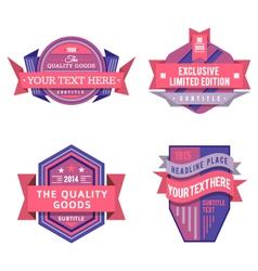 Set of logo pink retro labels and vintage vector